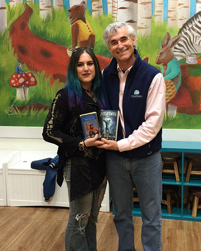 My first book signing was at the Reading Bug in California. Here I am with a fan who grew up reading The Merlin Saga.