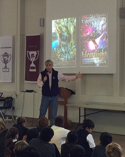 Presenting at a school in Portola Valley, CA.