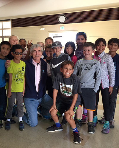 With students from a school in Redwood Shores, CA.