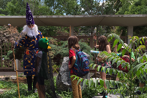 Merlin meets campers at Merlin Camp in Boulder Colorado.