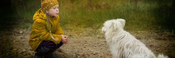 Little girl wearing yellow calling a white dog