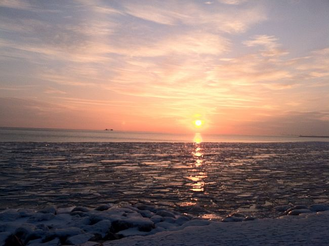 Sunrise over Lake Michigan in Hyde Park, Chicago. I half-expected Superman to emerge from an ice cave somewhere!